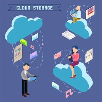 Cloud storage isometric computer technology