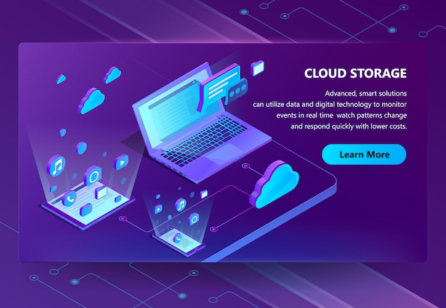 Cloud storage isometric concept background
