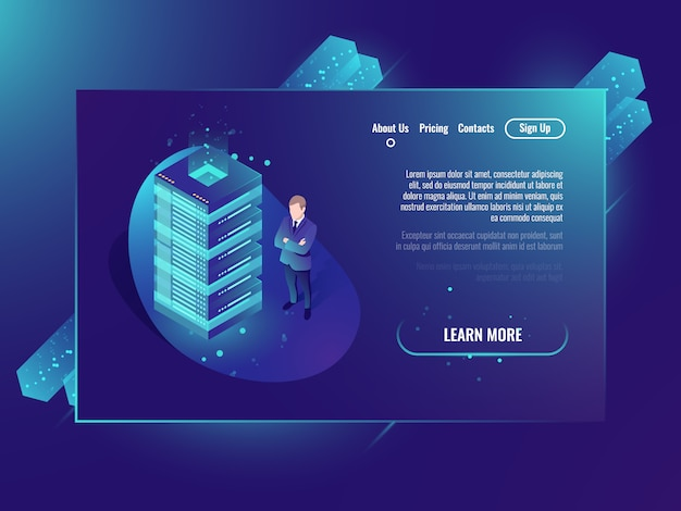 Cloud storage isometric concept, data center and database, server room rack