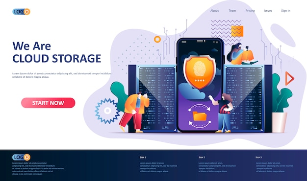 Cloud storage  landing page template  illustration