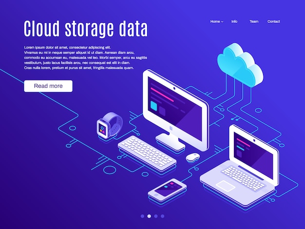 Cloud storage landing page.