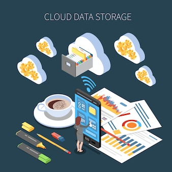 Cloud storage service isometric composition with saving of working information on dark