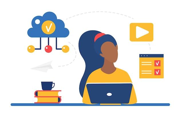 ラップトップでオンラインで働くインターネットの女性を介してビジネスの仕事のためのクラウドストレージシステム