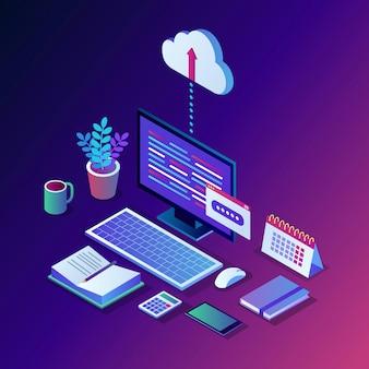 Cloud storage technology. data backup.  isometric computer, pc with mobile phone  on background. hosting service for website.