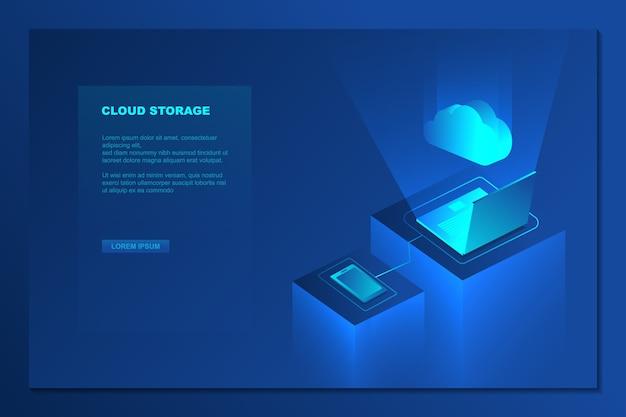 Cloud storage technology isometric background