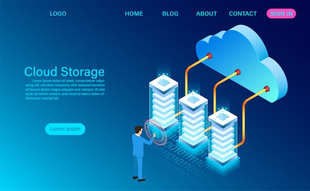 Cloud storage technology and networking landing page template