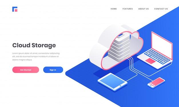Cloud storage webサイトまたはランディングページデザイン用のラップトップ、スマートフォン、タブレットに接続された3dクラウドサーバー。