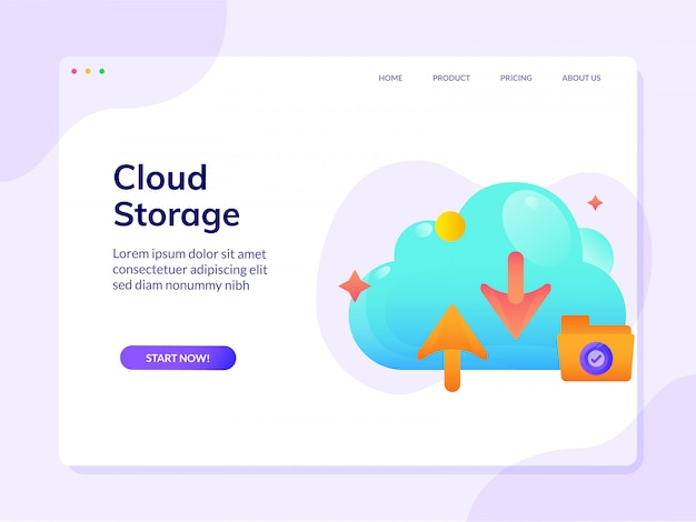 Cloud storage website landing page vector design illustration template