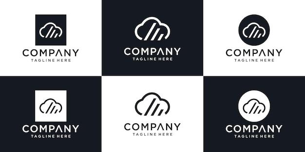 Облако стильный логотип и шаблон дизайна иконок