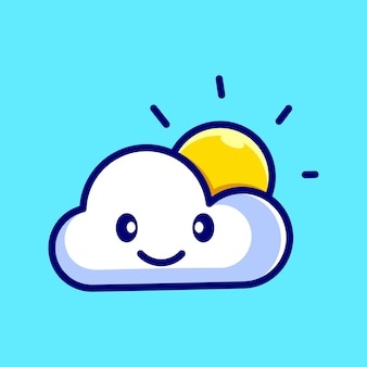 Cloud and sun cute cartoon mascot illustration vector icon