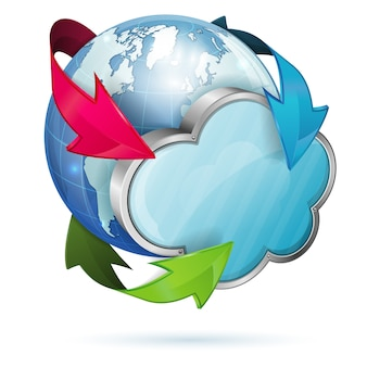 Cloud symbol with earth and arrows