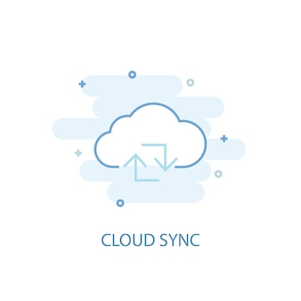 Cloud sync line concept. simple line icon, colored illustration. cloud sync symbol flat design. can be used for ui/ux