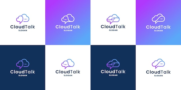 Cloud talk, bubble chat and cloud combine logo design collection for technology company