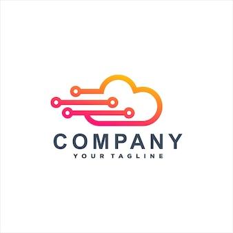 Дизайн логотипа градиента облачных технологий