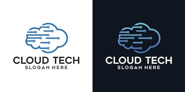 クラウド技術アイコンのロゴデザイン