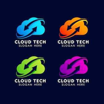 Cloud tech logo design template