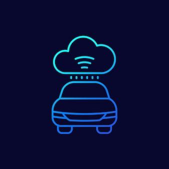 輸送のためのクラウドテクノロジー、車のラインアイコン