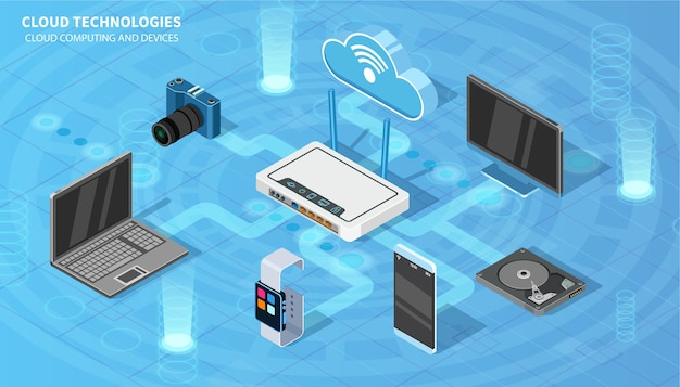 Cloud technologies.  isometric  for your projects.