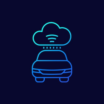 Cloud technologies for transport, cars line icon