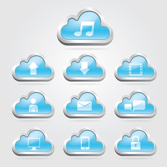Cloud technology buttons and set.