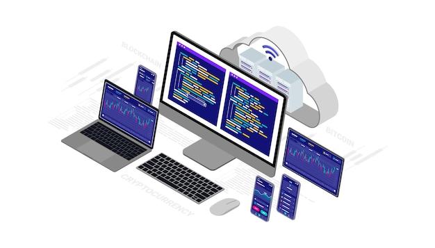 클라우드 기술 컴퓨팅 개념 cryptocurrency, bitcoin, blockchain, 컴퓨터, 노트북, 태블릿 및 스마트 폰과 아이소 메트릭 그림 네트워크.