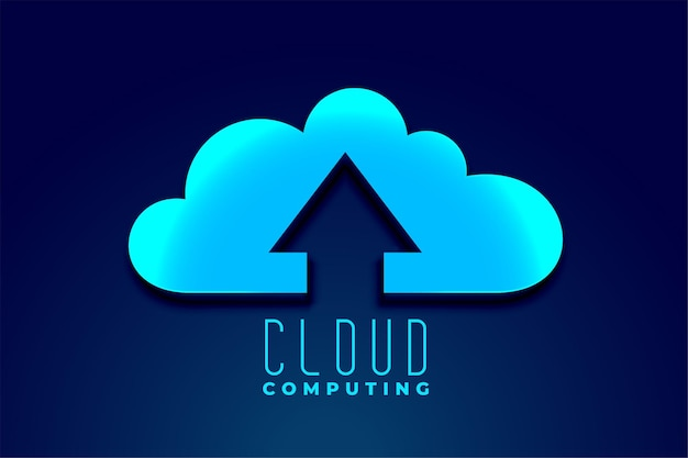 Cloud technology computing with upward upload arrow