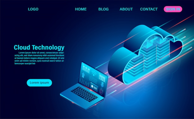 クラウドコンピューティングのコンセプト。オンラインコンピューティングテクノロジー。ビッグデータフロー処理の概念。等尺性のフラットなデザインイラスト。 Premiumベクター