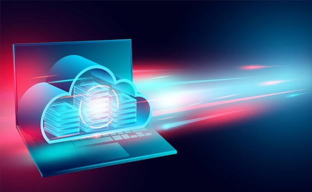 Cloud technology concept online computing technology big data flow processing concept isometric