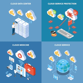 Cloud technology data center with security system storage of medicine information isometric concept isolated