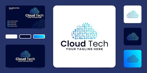 클라우드 기술 디자인 로고 및 명함 영감