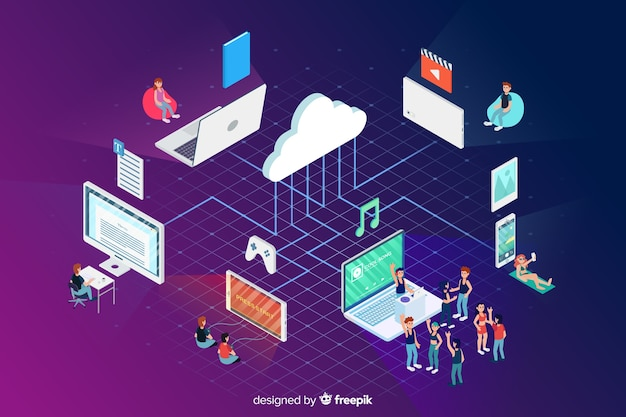 Cloud and technology elements in isometric style