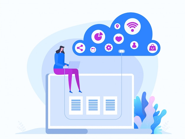 Cloud technology in flat style