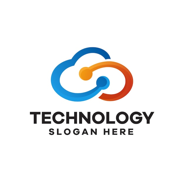 Cloud technology gradient logo design