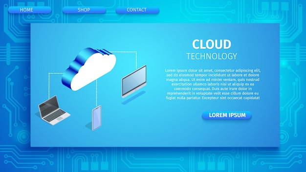 Cloud technology horizontal banner with space