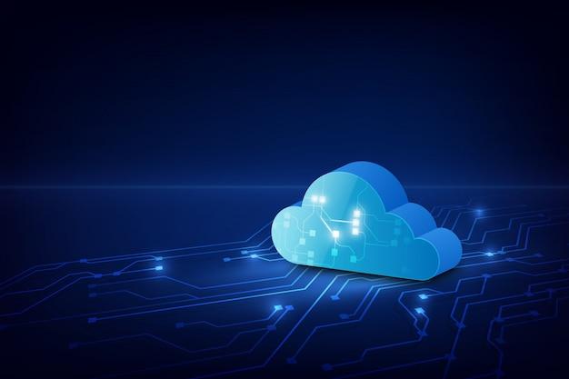 Cloud technology system sci fi background.