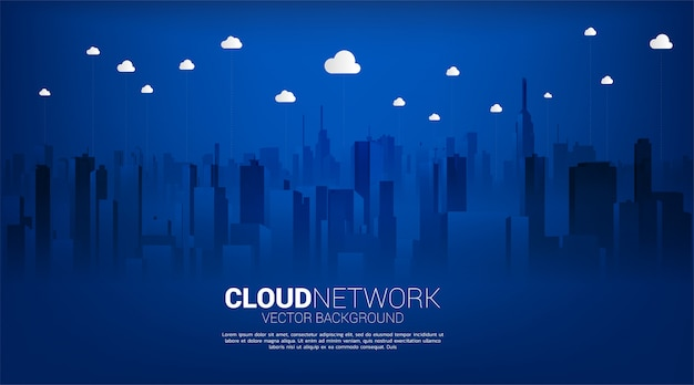 Cloud technology with city background. concept of cloud server, storage and data transformation.