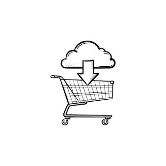 ショッピングカートの手描きのアウトライン落書きアイコンを指す矢印の付いた雲。オンラインショッピング、購入コンセプト。白い背景の上の印刷、ウェブ、モバイル、インフォグラフィックのベクトルスケッチイラスト。