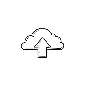 手描きのアウトライン落書きアイコンを矢印でクラウド。クラウドアップロードテクノロジー、クラウドストレージサービスのコンセプト