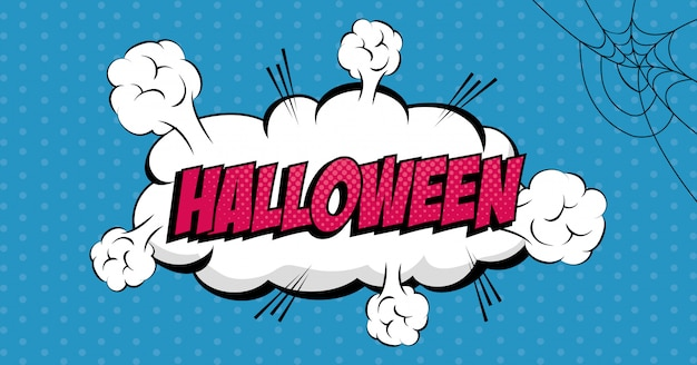 Cloud with halloween lettering pop art style icon