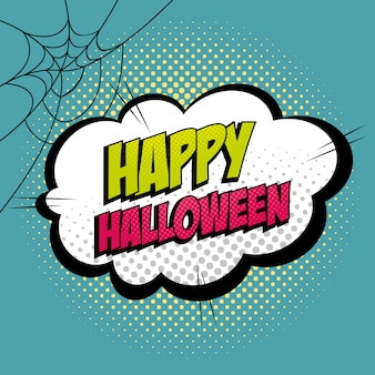 Cloud with happy halloween lettering pop art style icon
