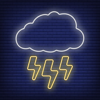 Cloud with lightning thunderstorm icon glow neon style, concept weather condition outline flat vector illustration, isolated on black. brick background, web climate label stuff.