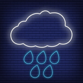 Cloud with rain icon glow neon style, concept weather condition outline flat vector illustration, isolated on black. brick background, web climate label stuff.
