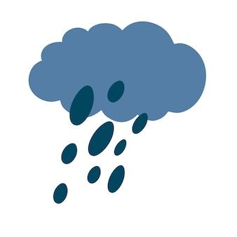비와 구름. 비가 오는 날씨. 빗방울이 있는 흐린 하늘 실루엣입니다. 일기 예보.