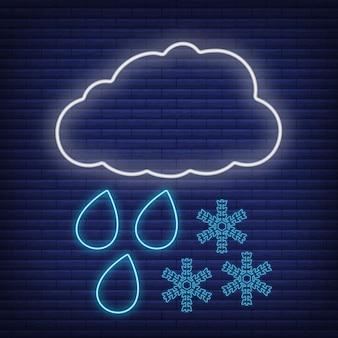 비 바람 눈으로 구름, 눈송이 아이콘 네온 스타일, 개념 기상 조건 개요 평면 벡터 일러스트 레이 션, 검정에 격리. 벽돌 배경, 웹 기후 라벨 물건.