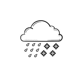 雪と雨の手描きのアウトライン落書きアイコンと雲。みぞれの天気と嵐、天気予報の概念