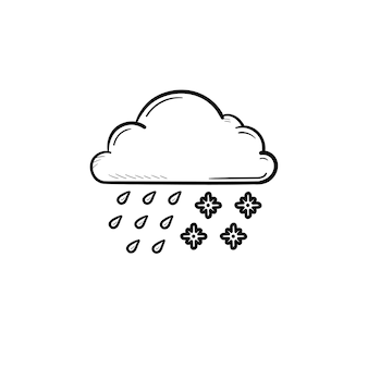 Cloud with snow and rain hand drawn outline doodle icon. sleet weather and storm, weather forecast concept