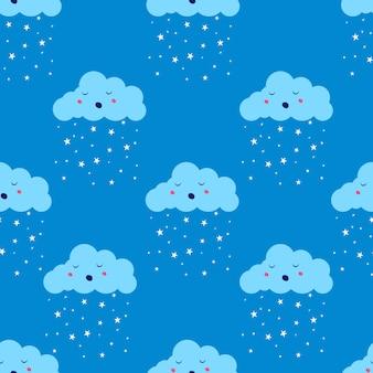 스타 비 또는 눈 완벽 한 패턴으로 클라우드. 편평한 귀여운 공기 날씨 하늘 무한 파란색 배경.