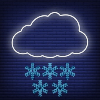 Cloud with wind snow, snowflake icon glow neon style, concept weather condition outline flat vector illustration, isolated on black. brick background, web climate label stuff.