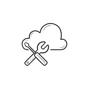 렌치와 드라이버 손으로 그린 개요 낙서 아이콘이 있는 클라우드. 클라우드 설정, 데이터베이스 유지 관리 개념
