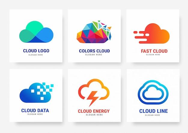Коллекция шаблонов логотипов cloud
